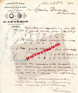 58 - NEVERS - FACTURE MANUSCRITE J. LEVEQUE -78 RUE COMMERCE- GANTERIE GANTS -A M. DECOUTY SAINT JUNIEN-1922 - G