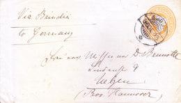 BRITISH INDIA - 1903 QUEEN VICTORIA 2A 6PIES POSTAL STATIONERY ENVELOPE -  AMBUR, S INDIA [RARE] TO GERMANY VIA BRINDISI - India (...-1947)