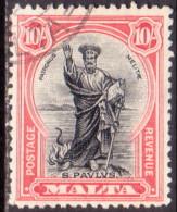 MALTA 1930 SG #209 10sh Used Inscr. POSTAGE AND REVENUE CV £180 - Malta (...-1964)