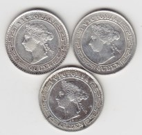 @Y@   Ceylon 10 Cents  1893 + 1894 + 1897     ( 3408 ) - Sri Lanka