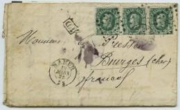 Bande De Trois N° 30 / LàC 1872 De Namur Pour Bourges. Cachet PD + Ambulant. - 1869-1883 Léopold II