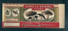 étiquette  Cèpes Au Naturel Extra - SOUBIRAN - Bordeaux - Chromo Litho XIX Ième ?  - 26 X 10cm  LUXE - Dorure - Fruits & Vegetables