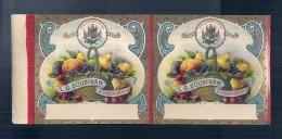 étiquette Double Sortie Imp - Fruits   SOUBIRAN  BORDEAUX - Modele Parfiné  - Chromo Litho  XIXeime 25x11cm  - - Frutas Y Legumbres