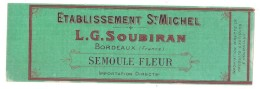 étiquette  Sortie Imp -sempoule Fleur SOUBIRAN Bordeaux   - Modele Parfiné  - Chromo Litho  XIXeime 16x8cm  - - Fruits & Vegetables