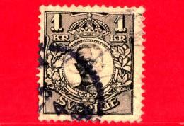 SVEZIA - Sverige - Usato - 1919 - Re Gustavo V - 1 - Oblitérés