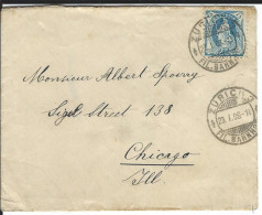 SBK 93A, Mi 81C, Zürich 3 Fil. Bahnhof 23.1.1908 Nach Chicago - 1882-1906 Wappen, Stehende Helvetia & UPU
