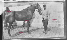 Photographie - Plaque De Verre - Militaire Et Son Cheval (B 513-1, Lot 4) - Plaques De Verre