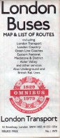 London Buses Map & List Of Routes, 1979 - Monde