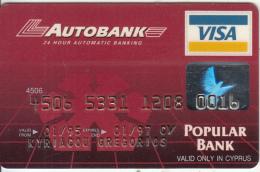 CYPRUS - Autobank, Popular Bank Visa, Used - Geldkarten (Ablauf Min. 10 Jahre)