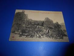 16J -  CPA , Causse-Méjean , Rochers Du Veygalier, Pique-Nique Des Enfants , Colonie De Rousses - France