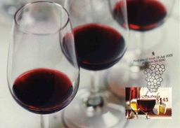 """Entier Postal** D'Australie De 2005 Sur Carte Postale Avec Timbre Et Illust. """"Vins Et Fromage"""" - Wines & Alcohols"""