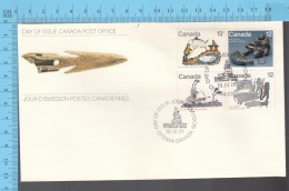 Canada - 1977 Block Scott # 748...751, Inuit Hunting  - FDC PPJ , Fancy Cancelation - American Indians