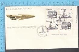 Canada - 1977 Block Scott # 751-50-50-51, Inuit Hunting  - FDC PPJ , Fancy Cancelation - Indiens D'Amérique