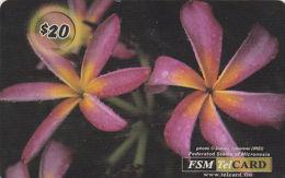 MICRONESIA - Remote Memory 20$ Card, Purlple Flower, Used - Micronesia