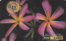 MICRONESIA - Remote Memory 20$ Card, Purlple Flower, Used