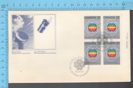 Canada - 1982 Top Right BlockScott #976 ,UN World Communication Year, Globes - FDC PPJ , Fancy Cancelation - ONU