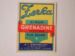 P178 - étiquette De Sirop De Grenadine - Zerouki à El Biar - Alger - Algérie - Etiquettes