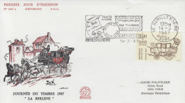 Enveloppe  FDC  Flamme   1er   Jour    JOURNEE  DU  TIMBRE   ROMILLY  SUR  SEINE   1987 - FDC