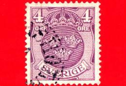 SVEZIA - Sverige - Usato - 1911 - Stemmi Araldici - Small Coat Of Arms - 4 - Oblitérés