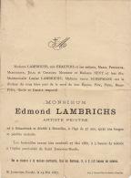 Faire Part De Decès D'edmond Lambrichts Artiste Peintre - Obituary Notices