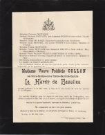 Faire Part De Decès De Vve Frederic Collon - Le Hardy De Beaulieu Wavre 1903 - Décès