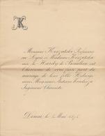 Faire Part De Mariage Koszutski Le Hardy De Beaulieu Douai 1878 - Wedding