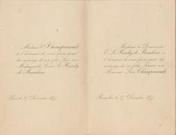 Faire Part De Mariage Champrenault Le Hardy De Beaulieu 1877 - Wedding