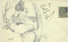 Illustrateur H. Favier, 1907 - Style Dessin à La Main -Femme Offrant Une Pomme - Illustrators & Photographers