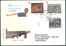 Croatia 60 Years Of Table Tennis In Opatija Special Illustrated Cover Letter And Pmk Registered, Travelled 2008 Bb161028 - Table Tennis