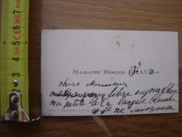 Carte De Visite Madame Roger Braun 96 Av Kleber Manuscrite Pour Docteur 12 Av Emile Zola - Cartoncini Da Visita
