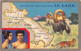 ¤¤  -  Colonie Française  -   LE LAOS   -  Carte Du Pays  -  Eléphants , Tigre      -  ¤¤ - Laos