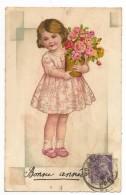 ENFANTS - LITTLE GIRL - MAEDCHEN - Jolie Carte Fantaisie Fillette  Avec Pot  De Fleurs - Portraits
