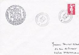 LETTRE BATIMENT ECOLE TIGRE BREST LANINON MARINE 31/9/91 - Marcophilie (Lettres)