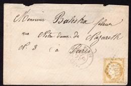 Cérès N° 55 Avec Oblitération Losange 206 ? Sur Lettre  TB - 1871-1875 Ceres