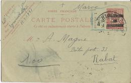 LIBAN - 1921 - TRES RARE CARTE ENTIER TYPE MOUCHON OMF SYRIE 1 PIASTRE De BEYROUTH Pour RABAT (MAROC) - ACEP N°4 - Liban