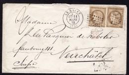 Cérès N° 56 X2 Avec Oblitération Losange 1769 Sur Lettre  TB - 1871-1875 Ceres
