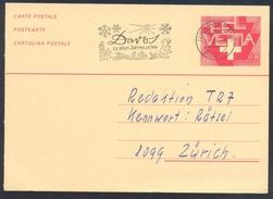 Switzerland Suisse Schweiz 1983 Postal Stationery Card: Flora Flower Fleur Blume: Slogan Davos Allen Jahrszeiten; Enzian - Pflanzen Und Botanik