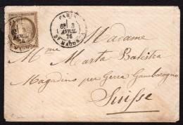 Cérès N° 56 Avec Oblitération Cachet à Date Envoyé En Suisse Sur Lettre  TB - 1871-1875 Cérès