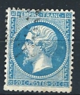 """YT 22 """" Napoléon III  20c. Bleu """" 1862 Oblitéré"""