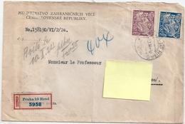 2 Stamps -timbres- Tchéchoslovaquie On An Envelope From 1924 POSTA CESKOSLOVENSKA 200/300 - Czechoslovakia