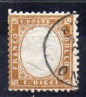 N°2 - 10c  Bistre-jaune  Oblitéré - 1861-78 Vittorio Emanuele II