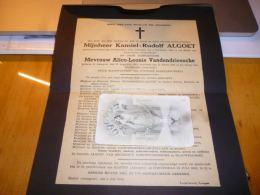 Lettre De Mort K. Algoet Kaster 1874 A. Vandendriessche Anzegem 1881 Duitsche Barbaarschheid Kamp Gross-Rosen Mauthausen - Obituary Notices