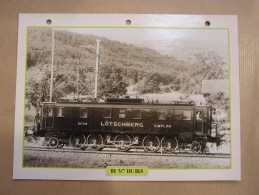 BE 5/7 DU BLS   Electrique CFF SBB Suisse  Fiche Descriptive Ferroviaire Chemin De Fer Train Locomotive Rail - Non Classificati