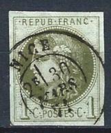 "YT 39B "" Cérès 1c. Olive Report 2 "" 1870 Cachet à Date NICE 30mars 1871"