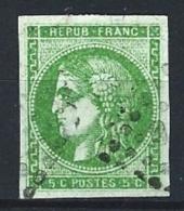 "YT 42B "" Cérès 5c. Vert-jaune Report 2 "" 1870 GC"