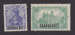Saar, Scott #46, 55, Mint Hinged, Germania And General Post Office Overprinted, Issued 1920 - Ungebraucht