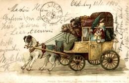 1900 Gruss Aus - Der Hunger Und Durst Ist Nun Endlich Gestillt, ... Aquarell Postkarte Serie V Tiere Oldenburg A Liege - Perros