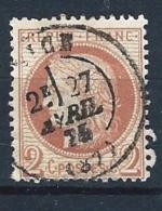 """YT 51 """" Cérès 2c. Vrouge-brun """" 1872 Cachet à Date T24 NICE Le 27 AVRIL 1874"""