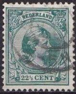 1891  Prinses Wilhelmina Hangend Haar 22½ Cent Donkergroen NVPH 41 - Usati