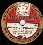 78 T -  20 Cm - état B - EILEEN ANJELKOVITCH - ROSES OF PICARDY - THEA PHILIPS - BIRD OF LOVE DIVINE - 78 Rpm - Gramophone Records